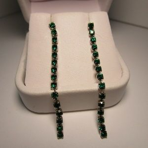 Vintage 80's Green and Silver Party Earrings